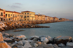 Marina di Pisa sunset view of the town. 's waterfront street Stock Photos