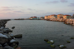 Marina di Pisa sunset view of the town. 's waterfront street Royalty Free Stock Photo