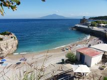 Marina di Puolo - Beach. Marina di Puolo, Massa Lubrense, Naples, Campania, Italy - September 3, 2014: The view of the beach from the path down from the headland royalty free stock image