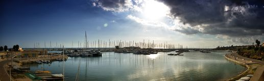 Marina di Ragusa Harbour is located in the most southern part of Italy, in a strategic position in the middle of the Mediterrean S. Marina di Ragusa Harbour is Stock Photography