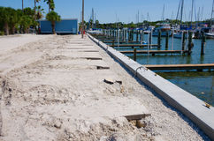 Marina dock breakwall and parking lot construction Royalty Free Stock Photography