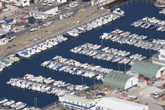 Marina and dock yard Gibraltar. Aerial view of dock yard and marina, these are found near to the Port of Gibraltar Stock Photo