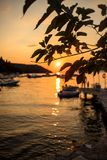 Marina with docked boats at the sunset Stock Photography
