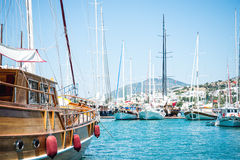 Marina with docked yachts Royalty Free Stock Photography