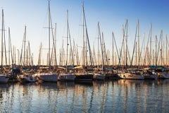 Marina with docked yachts at sunset. Israel, Ashdod royalty free stock image