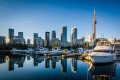 Marina and the downtown skyline, seen at the Harbourfront in Tor. Onto, Ontario Royalty Free Stock Photography