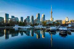 Marina and the downtown skyline, seen at the Harbourfront in Tor Royalty Free Stock Images
