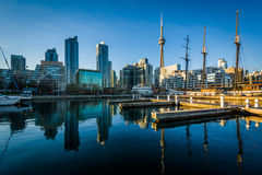 Marina and the downtown skyline, seen at the Harbourfront in Tor. Onto, Ontario Stock Photography