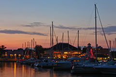 Marina at Dusk. A view at dusk of the Bronte Harbour marina in Oakville Ontario Stock Photo