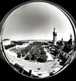 Marina fisheye view. Artistic look in black and white. Royalty Free Stock Image
