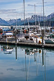 Marina and Fishing Boats, Alaska. Boats and ships docked in the marina in Seward, Alaska Royalty Free Stock Photography