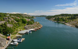 Marina fjord summer landscape Stock Images