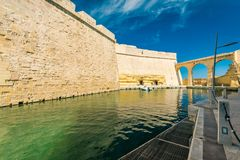 Marina in Fort Saint Angelo, Birgu, Malta.  Royalty Free Stock Image