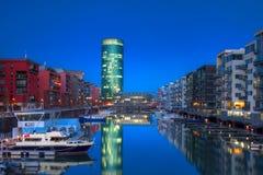 Marina Frankfurt Westhafen przy zmierzchem Zdjęcia Royalty Free