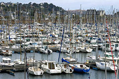 Marina full of sailboats in seaside resort, France Royalty Free Stock Photography