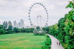 Marina Gardens Drive ziet de vlieger van Singapore, is het een aardpark van 100 hectaren teruggewonnen land in Singapore royalty-vrije stock foto