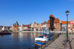 Marina in Gdansk. Old boat on the background panorama of Gdansk, Poland Royalty Free Stock Photography