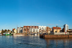 Marina of Gdansk. View across the Motlawa River to the Granary Island in Gdansk, Poland Stock Photo