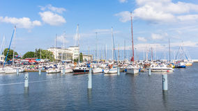 Marina in Gdynia. Poland, on July 10, 2013. One of the most modern facilities of its kind in Poland, hosting many sailing events and fairs i.a. Tall Ship Races Royalty Free Stock Photo