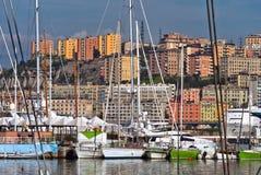 Marina in Genoa Italy sunny day view to the city royalty free stock photography