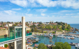 Marina and glass lift in Kaleici district in Antalya, Turkey Stock Photo
