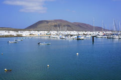 Marina in Graciosa island. Marina in Graciosa Canary Island with view over volcane royalty free stock photos
