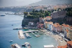 Marina grande beach and pier panoramic view, Sorrento, Campania, Italy. Europe Royalty Free Stock Photography