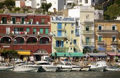Marina Grande Harbor in the City of Capri, an Italian island off the Sorrentine Peninsula on the south side of Gulf of Naples, in  Royalty Free Stock Photography