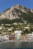 Marina Grande Harbor in the City of Capri, an Italian island off the Sorrentine Peninsula on the south side of Gulf of Naples, in  Stock Photo