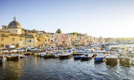 Marina Grande harbor on Procida island in Campania, Italy Stock Images