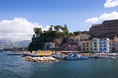 Marina Grande Harbour. The old town of Sorrento going down into the original fishing harbour of Marina Grande in Sorrento a small city in Campania, Italy. It is stock images