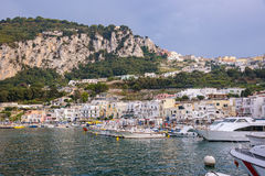 Marina Grande na Capri wyspie przy zmierzchem Obraz Royalty Free