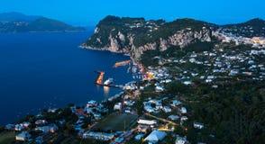 Marina Grande nocą, Capri wyspa, Włochy Zdjęcie Stock