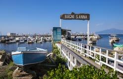 Marina Grande in Sorrento Italy. A restaurant in Marina Grande in Sorrento Stock Image