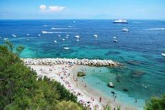 Marina Grande strand, Capri, Italien Fotografering för Bildbyråer