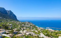 Marina Grande and town housing of rocky Capri island, Italy Royalty Free Stock Photos