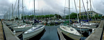 Marina on a gray day Royalty Free Stock Images