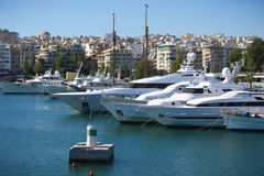 Marina in Greece. View of a marina with luxury yachts in Piraeus, Greece Stock Image