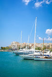 Marina in Greece. View of a marina with luxury yachts. Marina Zea in Piraeus, Greece royalty free stock photography