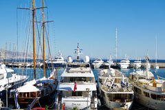 Marina in Greece. View of a marina with luxury yachts. Marina Zea in Piraeus, Greece royalty free stock images