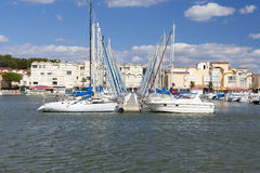 Marina of Gruissan with landing stage Royalty Free Stock Image