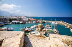 Marina harbour and port with yachts in Kyrenia Girne, North Cyprus stock photo