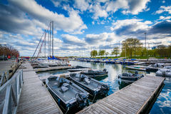 A marina at the Harbourfront, in Toronto, Ontario. Royalty Free Stock Photo