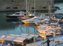 Marina at the Historic Koules Fortress in the Morning Sunlight, Heraklion, Greece Stock Image