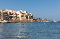 Marina Hotel Corinthia Beach Resort, Malta. ST. JULIAN`S - MALTA, 29 March 2017: Marina Hotel Corinthia Beach Resort located at the edge of the sparkling Stock Images