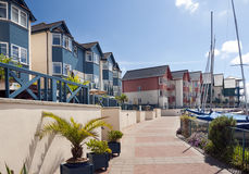 Marina houses and apartaments. Modern seaside houses and apartments in Exmouth marina, Devon, England, UK Royalty Free Stock Photos