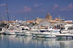 Marina i Saintes-Maries-de-la-Mer, Frankrike Arkivbilder