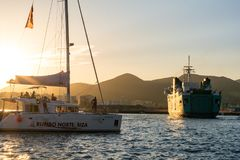 Marina Ibiza Ibiza, Spanien royaltyfri fotografi
