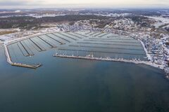 Free Marina In Winter In Sweden Drone Photo Stock Image - 207365021