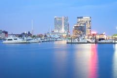 Marina at Inner Harbor in Baltimore at night royalty free stock photo